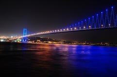 Bosporus bridge in istanbul, Turkey. Bosporus Bridge at night with lights in Istanbul, Turkey Stock Image