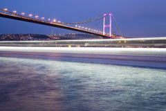 Bosporus Bridge at night from Ortakoy coast Istanbul Royalty Free Stock Photo