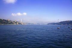 Bosporus bridge and Rumeli Hisar castle in Istanbul Stock Photography