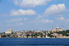 Bosporus bridge. Sea view of Istanbul Sultanahmet district with famous Mosques Stock Photos