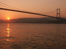 Bosporus Bridge at Sunrise Royalty Free Stock Photos
