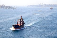Bosporus with cargo ships Stock Photo