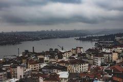 Bosporus flod i Istanbul som sett från Galatea Tower royaltyfri fotografi
