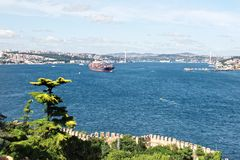 Bosporus, Istanbul. Aerial view over Bosporus in Istanbul Royalty Free Stock Images