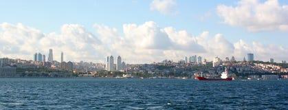 Bosporus. Istanbul - Turkey. Panoramic view of Bosporus on front of Istanbul cityscape Royalty Free Stock Photos
