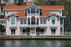 Bosporus mansion. Beautiful mansion alongside the Bosporus at the sea near Istanbul,Turkey Royalty Free Stock Photo
