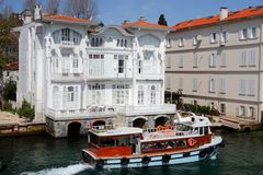Bosporus mansions. Beautiful mansions alongside the Bosporus at the sea near Istanbul,Turkey Stock Photo