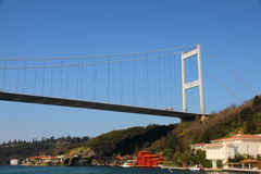 Bosporus suspension bridge. Pylon of Bosporus suspension bridge  connecting Asia with Europe above the Bosporus  towering over a neighbourhood  near Istanbul Stock Photos