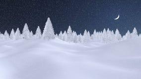 Bosque abstracto del abeto del invierno en la noche de las nevadas Foto de archivo