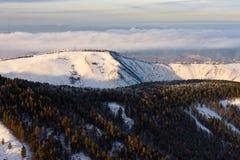 Bosque, colina y niebla sobre el río Fotografía de archivo