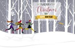 Bosque con las muchachas y la estrella de la Navidad ilustración del vector