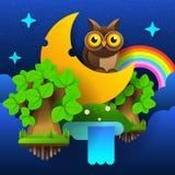 Bosque de hadas de la noche Luna en el cielo con un arco iris y las estrellas Vector libre illustration
