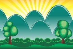 Bosque de la historieta y papel pintado tropicales del fondo de la montaña Foto de archivo