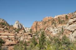 Bosque de la montaña con el cielo azul Imagen de archivo libre de regalías