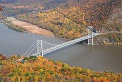 Bosque de la montaña del otoño con el puente Imagen de archivo libre de regalías