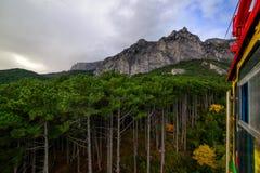 Bosque de la montaña encima de una montaña en Crimea Imagen de archivo libre de regalías