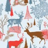 Bosque de la Navidad del invierno con deers. patt inconsútil Fotos de archivo libres de regalías
