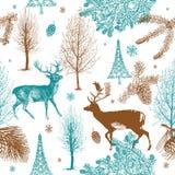 Bosque de la Navidad del invierno con deers. patt inconsútil Imagenes de archivo