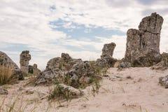 Bosque de piedra cerca de Varna, Bulgaria Pobiti Kamani Imagen de archivo libre de regalías