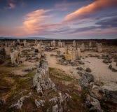 Bosque de piedra en la puesta del sol Imagen de archivo libre de regalías