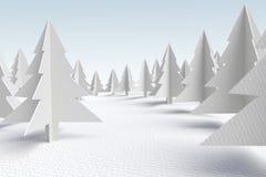 Bosque del árbol de hoja perenne de la cartulina ilustración del vector