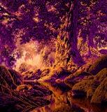 Bosque del árbol de roble stock de ilustración