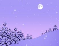 Bosque del invierno con los copos de nieve libre illustration