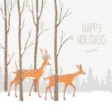Bosque del invierno de los ciervos Imagenes de archivo