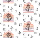 Bosque del invierno - el modelo inconsútil del vector con los árboles, ciervos, casas, copos de nieve, pie imprime Fotos de archivo libres de regalías