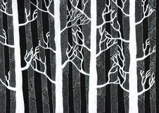 Bosque del invierno - tinta blanca en lona negra foto de archivo
