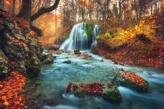 Bosque del otoño con la cascada en el río de la montaña en la puesta del sol foto de archivo libre de regalías