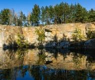 Bosque del otoño de la reflexión en un lago del bosque Imagenes de archivo