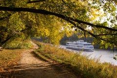 Bosque del otoño en el riverbank Fotos de archivo