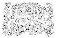 Bosque del otoño habitado por diversos animales ilustración del vector