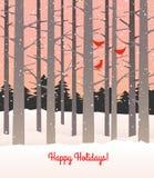 Bosque en invierno con nieve y cardenales que caen libre illustration