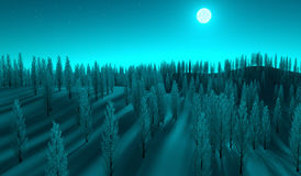 Bosque encendido luna Foto de archivo libre de regalías