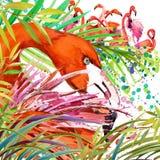 Bosque exótico tropical, hojas verdes, fauna, ejemplo de la acuarela del flamenco del pájaro naturaleza exótica inusual del fondo Imagen de archivo libre de regalías