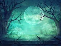 Bosque fantasmagórico con la Luna Llena y la tabla de madera stock de ilustración
