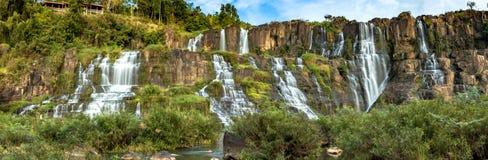 Bosque grande de la cascada bajo la lluvia imagenes de archivo