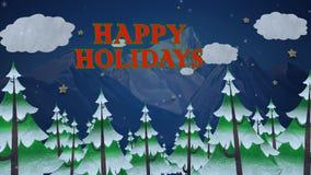 Bosque 4K del pino del invierno buenas fiestas metrajes