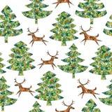 Bosque mágico de los árboles de navidad del mosaico con el reno Foto de archivo libre de regalías