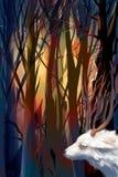 Bosque místico del ejemplo con una cabra Foto de archivo libre de regalías