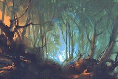 Bosque oscuro con la luz mística stock de ilustración