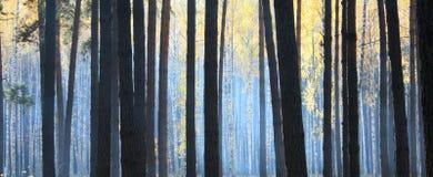 Bosque oscuro del otoño con niebla Imagen de archivo