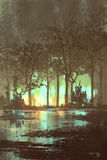 Bosque oscuro misterioso con la luz mística ilustración del vector