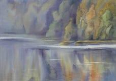 Bosque por paisaje de la acuarela del lago Imágenes de archivo libres de regalías