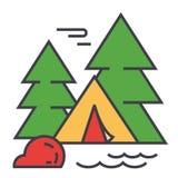 Bosque que acampa, tienda turística, concepto de la aventura del viaje Ilustración del Vector