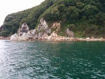 Bosque, rocas y mar Imagenes de archivo