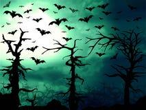 Bosque verde oscuro y fondo asustadizo de los palos ilustración del vector