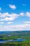 Bosque y lagos de Noruega verticales Imágenes de archivo libres de regalías